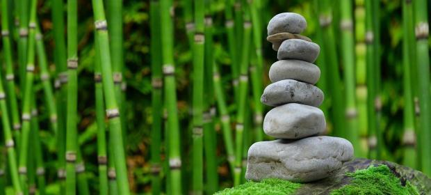 башня из камней на фоне бамбука