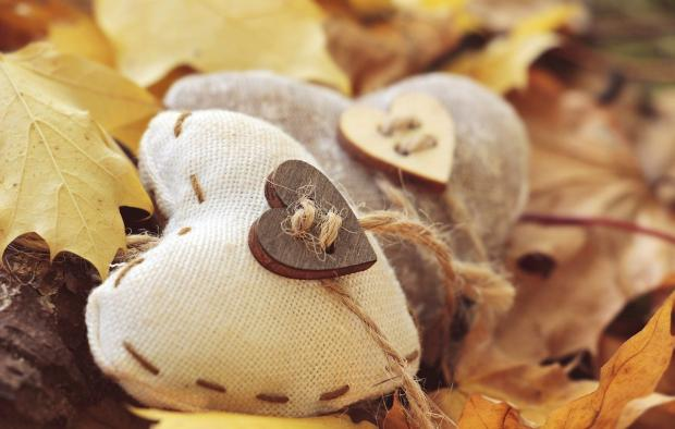 две подушечки в форме сердец на фоне осенней листвы
