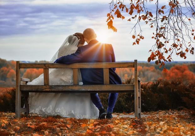 обнявшиеся молодожены сидят на скамейке на фоне осенней природы