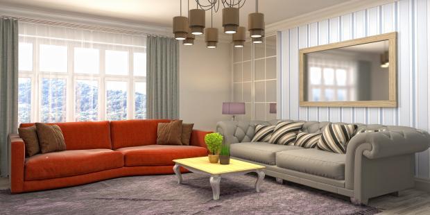 два дивана оранжевый и серый