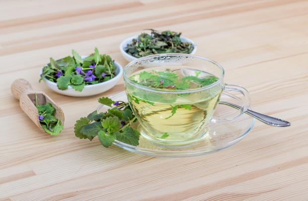 стакан с травяным чаем, травы