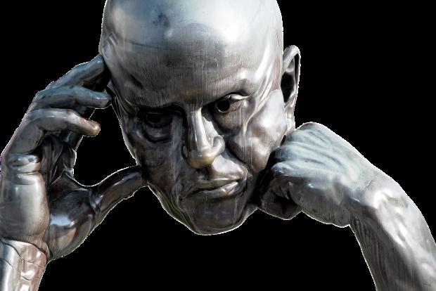 скульптура думающая голова подпертая рукой