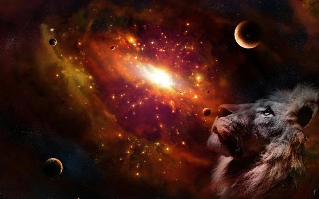 голова льва на фоне звездного неба