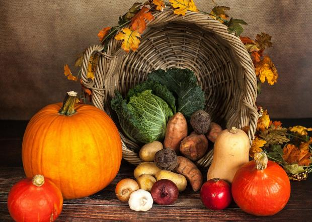 тыква, картофель и другие осенние овощи, корзина