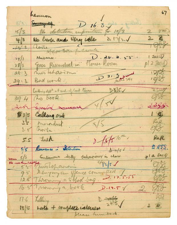 Табель успеваемости ДЖона Леннона