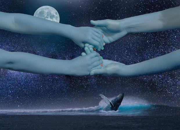 сцепленные руки на фоне ночного неба и луны