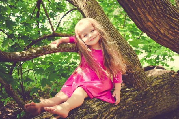 маленькая девочка с распущенными волосами в красном платье сидит на стволе дерева