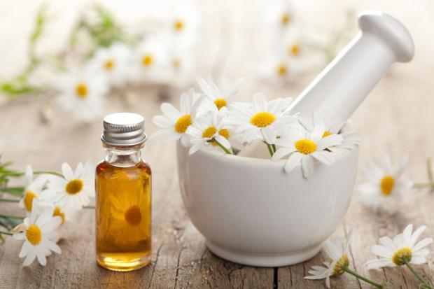 Эфирное масло ромашки и цветки ромашки