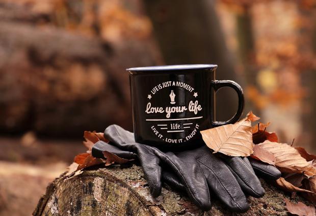 красивая черная кружка с надписью стоит на стволе дерева с осенними листьями