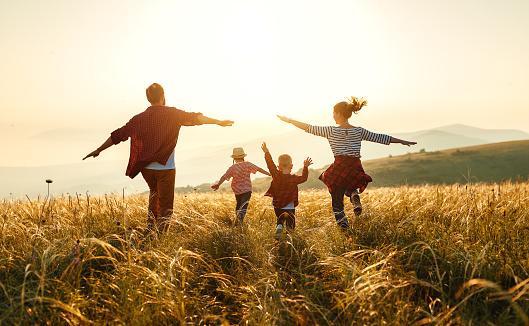 семья с детьми бегут по полю с созревшими зерновыми