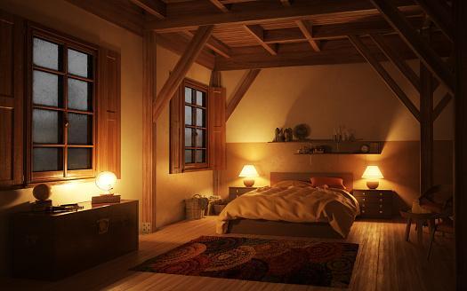 обустройство спальни в мансарде
