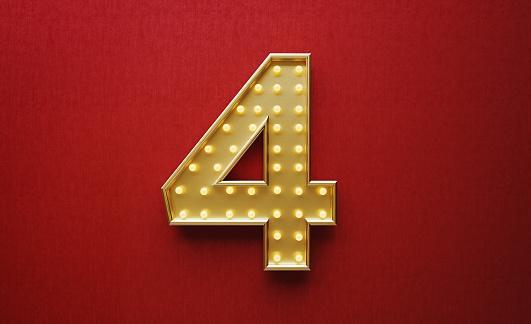 золотая цифра 4 на красном фоне