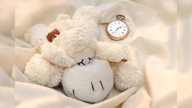 мягкая игрушка спит рядом с круглыми часами