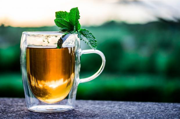 прозрачная чашка с чаем, листики мяты