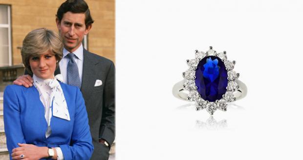 Принцесса Диана в синем пиджаке с Принцем Чарльзом и ее кольцо из золота с сапфиром