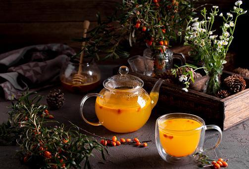 облепиховый чай с веточками и ягодами