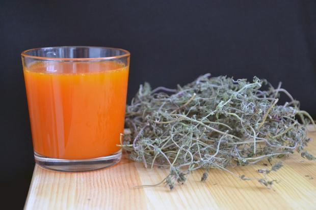 облепиховый сок в стакане, высушенные ветки и листья