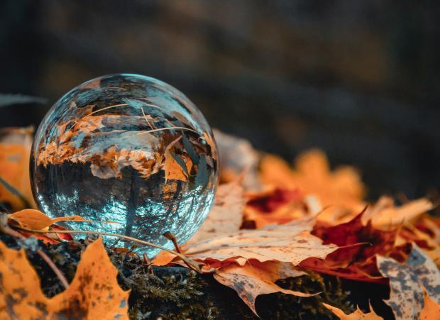 Хрустальный шар лежит на желтых листьях