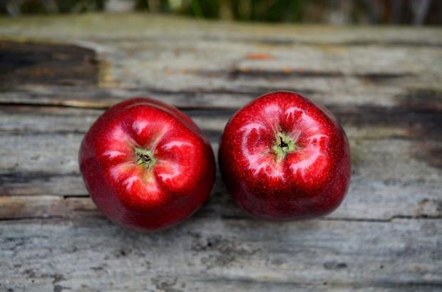 два красных яблока