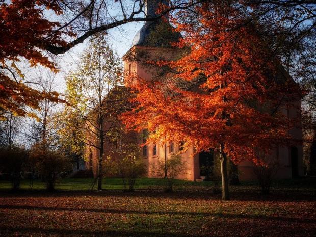 здание церкви среди осенних деревьев