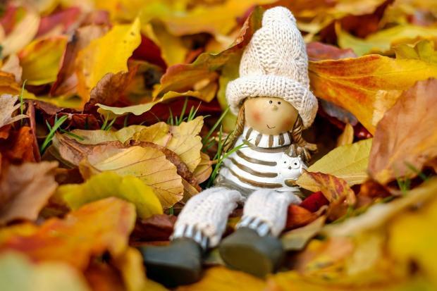 кукла сидит на земле среди разноцветных осенних листьев