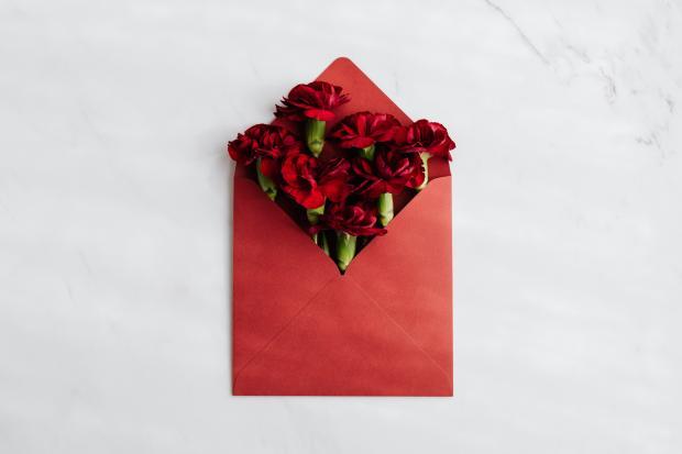 Красные цветы в красном конверте
