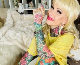 50-летняя немка увлеклась татуировками и за 5 лет покрыла рисунками все свое тело