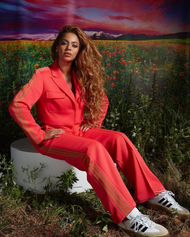 Бейонсе в красном спортивном костюме сидит на поле цветов