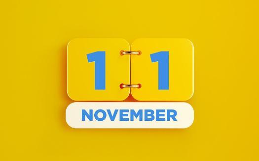 дата 11 ноября на желтом фоне