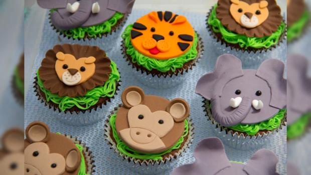 круглые пирожные с изображения различных животных