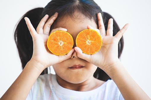 девочка в белой футболке закрыла половинками мандаринов глаза