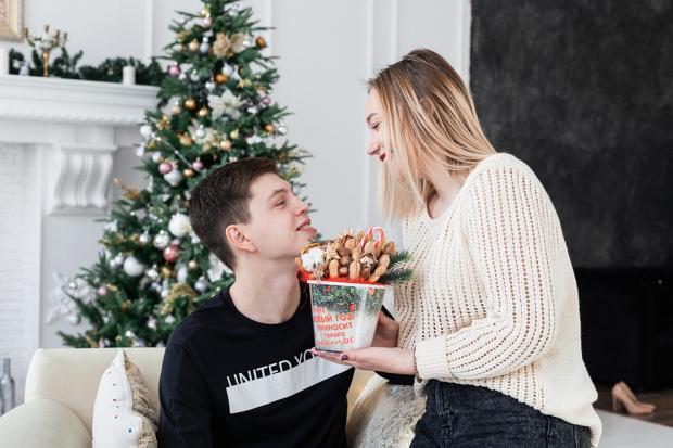 романтическая встреча нового года на фоне наряженной елки