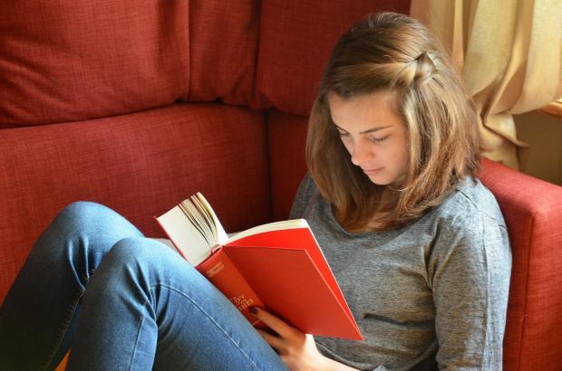 девушка сидит на диване и читает книжку