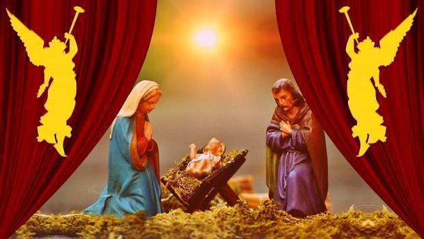 фигурки Пресвятой Марии и Иосифа Обручника у колыбели Христа