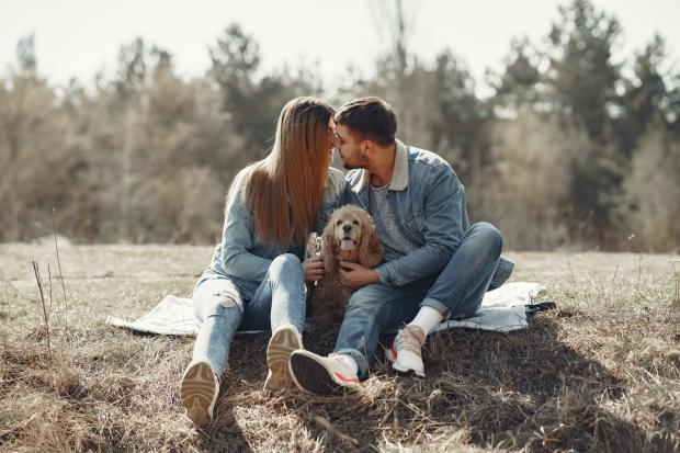 Молодые мужчина и девушка в джинсовых костюмах сидят на пледе вместе с собакой