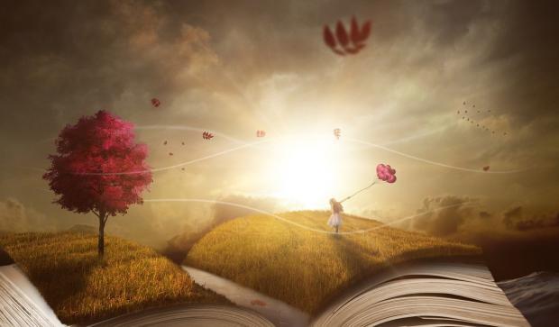 на развороте книги - объемный природный пейзаж