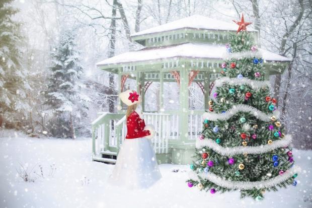домик в лесу и наряженная елка