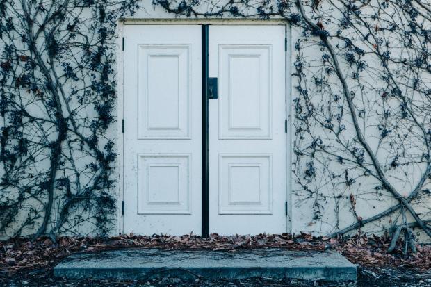 Белая дверь в стене