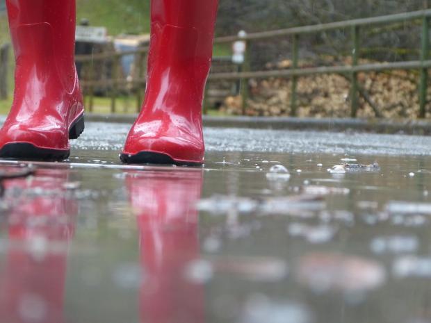 ноги в красных резиновых сапогах озле лужи