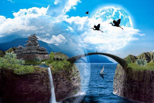 сон - вода с небом и летящими по нему птицами
