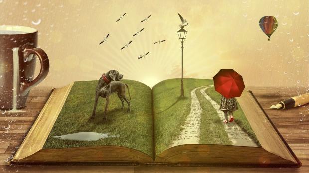 заросшие травой книжные страницы и собака с девочкой под красным зонтом