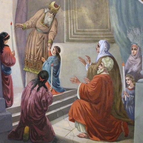 фрагмент иконы Ведения во храм Пресвятой Богородицы