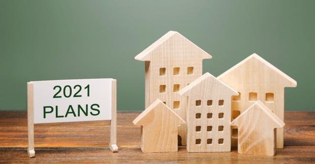 """деревянные домики и надпись """"планы на 2021"""""""