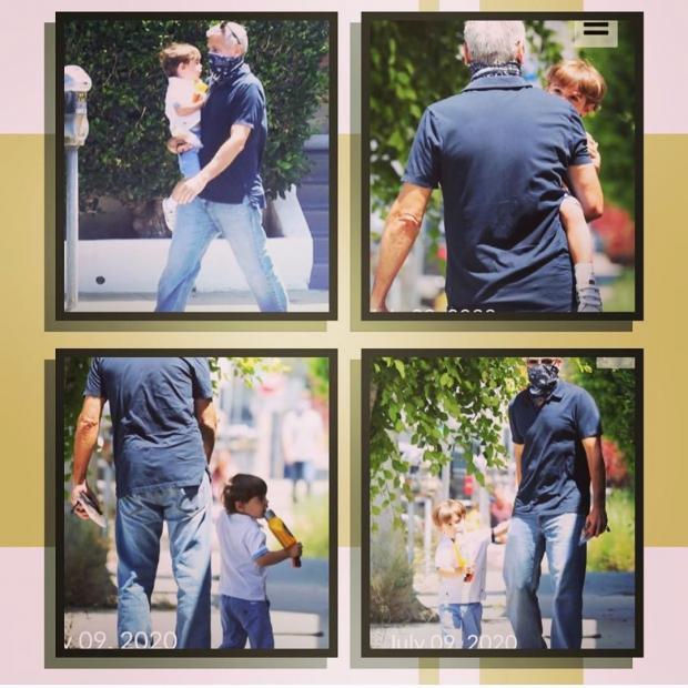 Джордж Клуни на прогулке с сыном