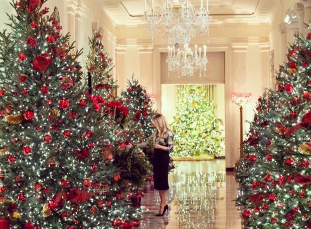 Мелания Трамп среди красиво украшенных елок