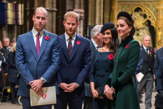 Принцы Уильям и Гарри с женами