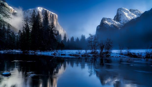 озера среди гор, зима