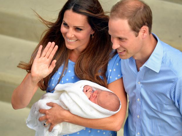 Кейт Миддлтон и Принц Уильям с новорожденным сыном