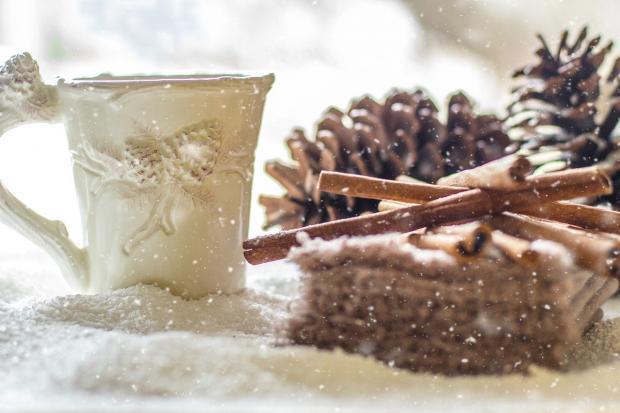 на снегу рядом с шишками и корицей стоит белая красивая кружка