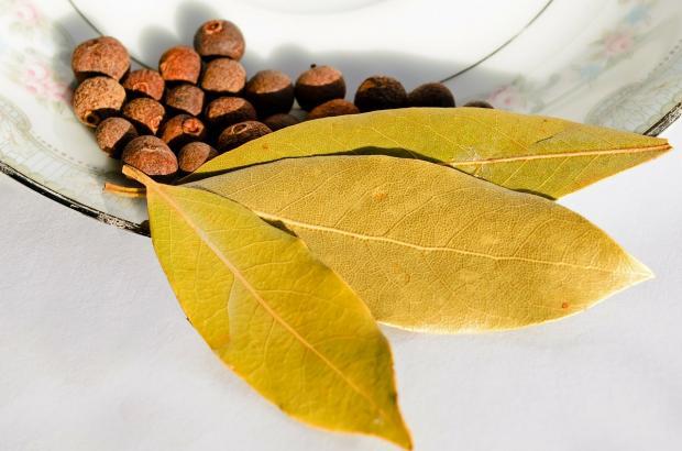 три листочка лаврового листа на тарелке рядом с перцем горошком